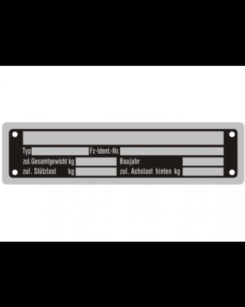 Typenschilder: KFZ, schwarz/silber, Alu, volleloxiert, 148x38x0,5mm, Best.‑Nr.4530