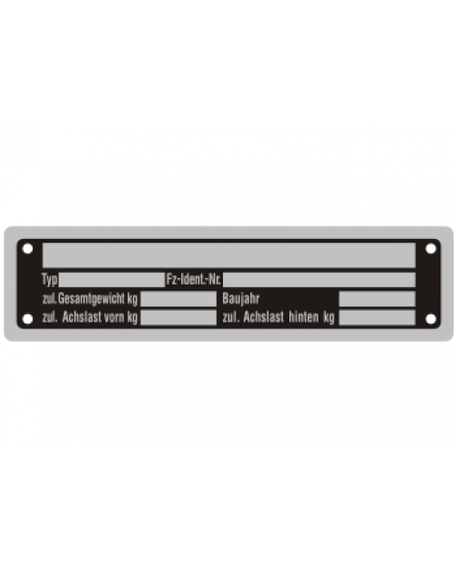 Typenschilder: KFZ, schwarz/silber, Alu, volleloxiert,148x38x0,5mm, Best.‑Nr.4531
