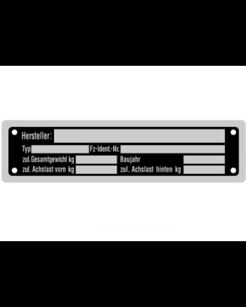 Typenschilder: KFZ, schwarz/silber, Alu, volleloxiert, 148x38x0,5mm, Best.‑Nr.4533