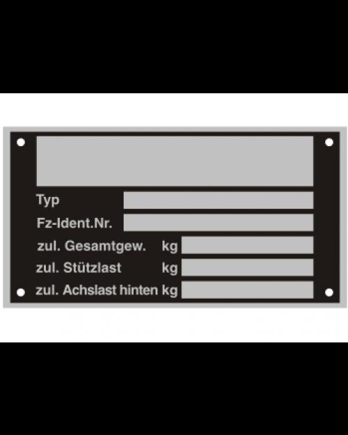 Typenschilder: KFZ, schwarz/silber, Alu, volleloxiert, 125x70x0,5mm, Best.‑Nr.4535