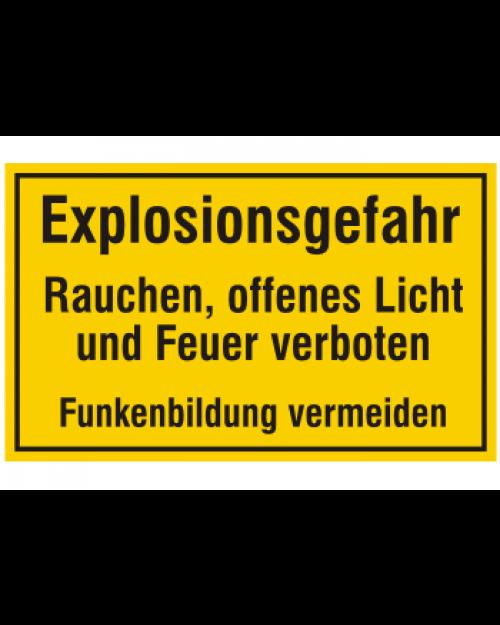 Schild: Explosionsgefahr, Feuer, offenes Licht und Rauchen verboten, Best. Nr. 3476