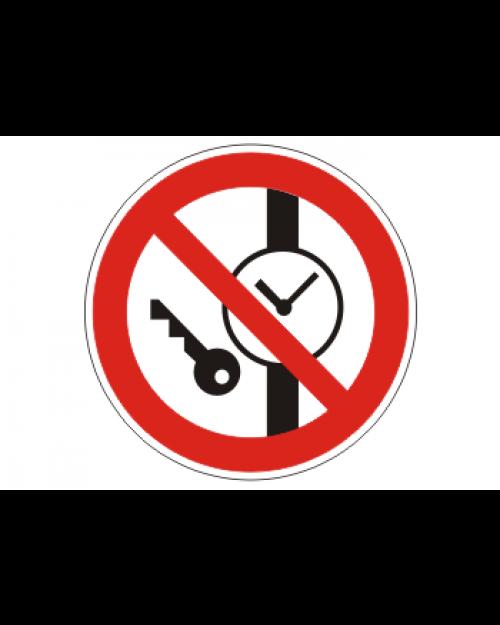 """Verbotsschild """"Keine Metallteile oder Uhren mitführen"""", Best.‑Nr.3439"""