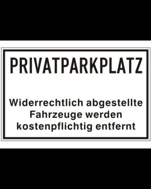 Schilder rund um´s Haus: Privatparkplatz, weiß/schwarz, Aluminium, geprägt, 400 x 250 mm, Best. Nr. 3085