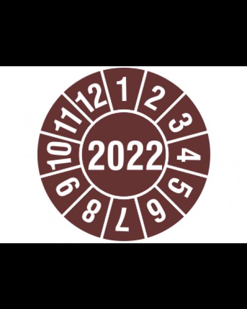 """Prüfplakette 2022, selbstklebende Folie, braun/weiß, Jahreszahl """"2022"""", ø 30 mm, Best.-Nr. 4322"""
