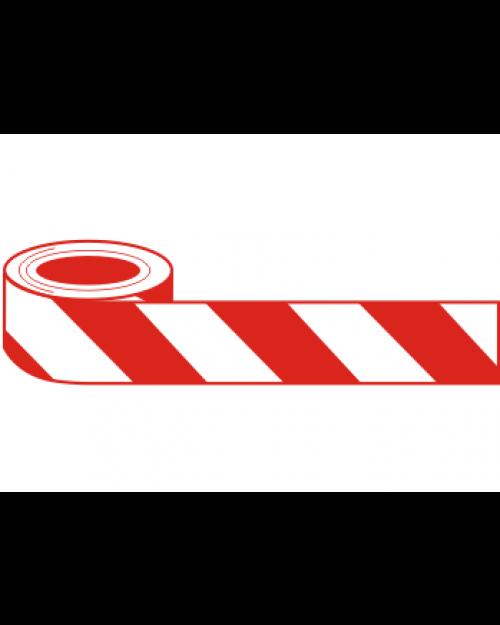 Absperrband (Flatterband), 500mx80mm, weiß/rot, Polyethylen, Best.‑Nr.4345