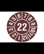 """Prüfplakette 2022, selbstklebende Folie, braun/weiß, Jahreszahl """"22"""", ø 15 mm, Best.-Nr. 4322"""