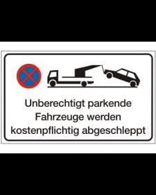 Verkehrszusatzschild: Abschleppschild, weiß/schwarz + Zeichen, Präge, 500 x 300 mm, Best. Nr. 4105