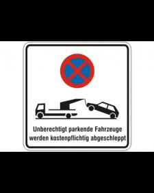 Verkehrszusatzschild: Abschleppschild, weiß/schwarz + Zeichen, Alu. 2 mm, 250 x 250 mm, Best. Nr. 4107