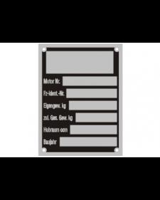 Typenschilder: KFZ, schwarz/silber, Alu, volleloxiert, 45 x 60 x 0,5 mm, Best. Nr. 4518