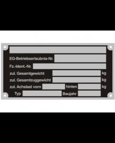Typenschilder: KFZ, schwarz/silber, Alu, volleloxiert, 100 x 50 x 0,5 mm, Best. Nr. 4520