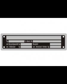 Typenschilder: KFZ, schwarz/silber, Alu, volleloxiert, 148 x 38 x 0,5 mm, Best. Nr. 4530