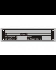 Typenschilder: KFZ, schwarz/silber, Alu, volleloxiert, 148 x 38 x 0,5 mm, Best. Nr. 4531
