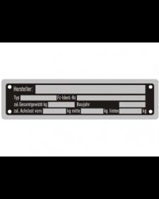 Typenschilder: KFZ, schwarz/silber, Alu, volleloxiert, 148 x 38 x 0,5 mm, Best. Nr. 4532
