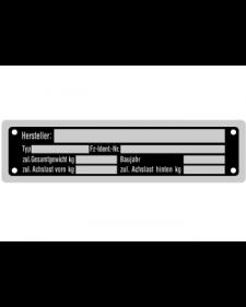 Typenschilder: KFZ, schwarz/silber, Alu, volleloxiert, 148 x 38 x 0,5 mm, Best. Nr. 4533
