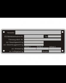 Typenschilder: KFZ, schwarz/silber, Alu, volleloxiert, 150 x 58 x 0,5 mm, Best. Nr. 4538