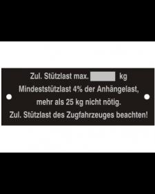 Typenschilder: Zulässige Stützlast neutral, schwarz/silber, Alu, volleloxiert, 80x30x0,5mm, Best.‑Nr.4515
