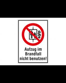 Schild: Aufzug im Brandfall nicht benutzen, Best. Nr. 3720