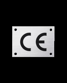 CE - Zeichen, alu / schwarz, eloxiert, 0,5 mm stark, mit 4 Bohrungen