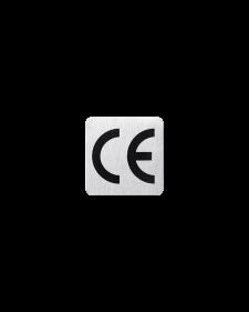 CE - Zeichen, alu / schwarz, eloxiert, 25 x 25 mm, 0,5 mm stark