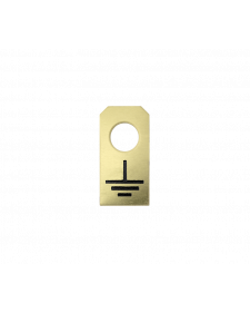 Erdungszeichen, Messing, geätzt, 15 x 30 mm, 0,5 mm stark, 1 Bohrung 8,5 mm ø, blank / schwarz, Best.-No.4616