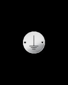 Erdungszeichen, blank / schwarz, 25 mm Durchmesser, Nirosta geätzt, Best.-No. 4615