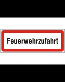 Brandschutzschild: Feuerwehrzufahrt, weiß/schwarz mit rotem Rand, 594 x 210 mm, Best. Nr. 3775