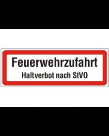 Brandschutzschild: Feuerwehrzufahrt, weiß/schwarz mit rotem Rand, 594 x 210 mm, Best. Nr. 3776