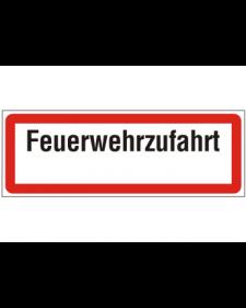 Brandschutzschild: Feuerwehrzufahrt, weiß/schwarz mit rotem Rand, 594 x 210 mm,  mit frei zu beschriftender Zusatzfläche, Best. Nr. 3777