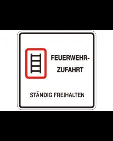 Brandschutzschild: Feuerwehrzufahrt, weiß/schwarz/rot, 500 x 500 mm, Best. Nr. 3787