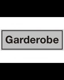 Innenschild: Garderobe, Aluminium, selbstklebend, 150 x 50 mm, Best.-Nr. 3013