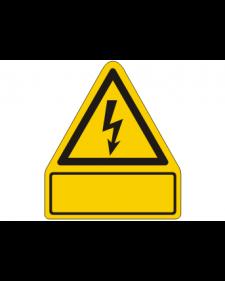 Warnschild: Warnung vor gefährlicher elektrischer Spannung, gelb/schwarz, 210 x 240 mm, mit frei zu beschriftender Zusatzfläche, Best. Nr. 3810