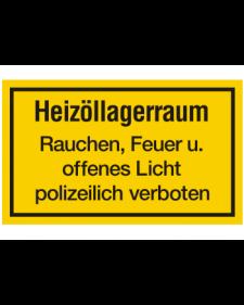 Schilder rund um´s Haus: Heizöllagerraum, gelb/schwarz, 250 x 150 mm, Best. Nr. 3111