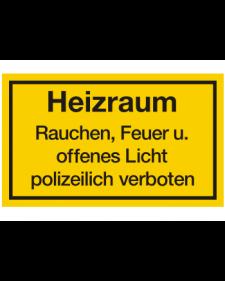 Schilder rund um´s Haus: Heizraum, gelb/schwarz, 250 x 150 mm, Best. Nr. 3110