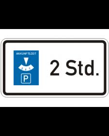 Verkehrszusatzschild: Parkscheibenschild, Bild‑Nr.1040‑32, weiß/schwarz + blau, Alu, 2mm, 420x230mm, Best.‑Nr.4070