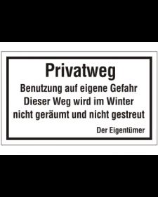 Schilder rund um´s Haus: Privatweg, Benutzung auf eigene Gefahr, weiß/schwarz, Aluminium, geprägt, 500 x 300 mm, Best. Nr. 3090
