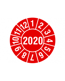 """Prüfplakette 2020, Haftfolie, rot/weiß, Jahreszahl """"2020"""", ø 30 mm"""