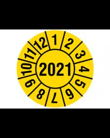 """Prüfplakette 2021, Haftfolie, gelb/weiß, Jahreszahl """"2021"""", ø 30 mm"""