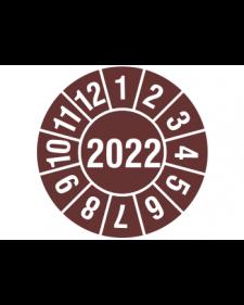 """Prüfplakette 2022, Haftfolie, braun/weiß, Jahreszahl """"2022"""", ø 30 mm"""