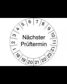Prüfplakette nächster Prüftermin, weiß/schwarz, Haftfolie, 30 mm, Best. Nr. 4300