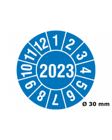 "Prüfplakette 2023, selbstklebende Folie, blau/weiß, Jahreszahl ""2023"", ø 30 mm, Best.-Nr. 4317"