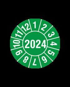 "Prüfplakette 2024, selbstklebende Folie, grün/weiß, Jahreszahl ""2024"", ø 30 mm, , Best.-Nr. 4318"