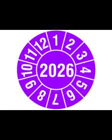 """Prüfplakette 2026, selbstklebende Folie, violett/weiß, Jahreszahl """"2026"""", ø 30 mm, Best.-Nr. 4320-26"""