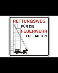 Brandschutzschild: Rettungsweg, weiß/schwarz/rot, 500 x 500 mm, mit frei zu beschriftender Zusatzfläche, Best. Nr. 3785