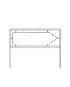 Rohrrahmen mit Rohrdurchmesser 48mm, Stahl, feuerverzinkt, zweibeinig für Tiefaufstellung, Z822 nach IVZ-Form, für Schildgröße 1250 x 333 mm, Bodenfreiheit 1 m, Best.-Nr. 4180