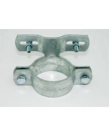 Befestigung: Rohrschelle für 60er Rohr versetzt, inkl. 4 Schrauben, feuerverzinkt, Lochabstand 70 mm, Best.-Nr.4210