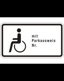 Verkehrszusatzschild: Schwerbehinderte mit Parkausweis, Bild‑Nr.1044‑11, weiß/schwarz, Alu,2mm, 420x230 mm, Best.‑Nr.4073