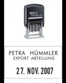 Stempel: COLOP Selbstfärbender Bandstempel, Datum und frei beschriftbar, Mod.S160, Best.‑Nr.4411