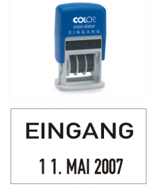 Stempel: COLOP Selbstfärbender Bandstempel m. festem Zusatztext, EINGANG + Datum, 4 mm Schrifthöhe, Mod. S 160/L1, Best. Nr. 4412