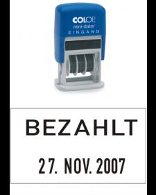 Stempel: COLOP Selbstfärbender Bandstempel m. festem Zusatztext, BEZAHLT + Datum, 4 mm Schrifthöhe, Mod. S 160/L2, Best. Nr. 4413