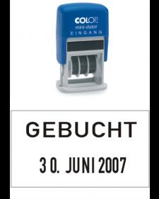 Stempel: COLOP Selbstfärbender Bandstempel m. festem Zusatztext, GEBUCHT + Datum, 4 mm Schrifthöhe, Mod. S 160/L3, Best. Nr. 4414